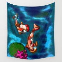 koi fish Wall Tapestries featuring KOI FISH by aztosaha