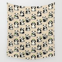 pandas Wall Tapestries featuring Pandas by Olya Yang