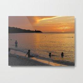Sunset over Grand Anse Metal Print