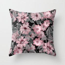 Nostalgic Floral Pattern On Black Throw Pillow