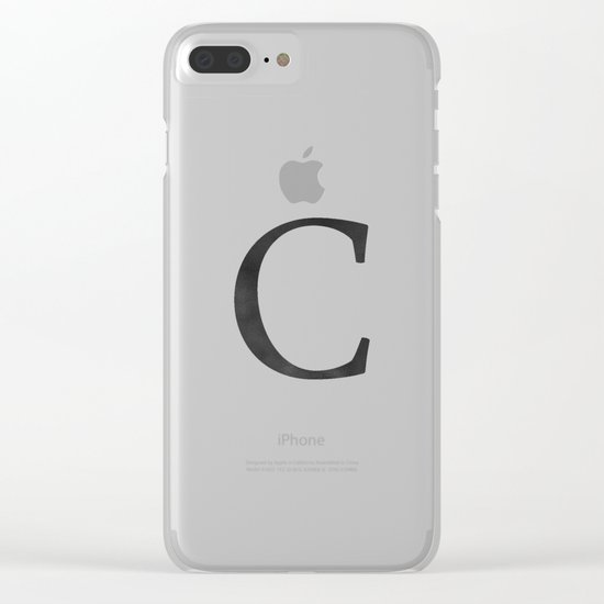 Letter C Initial Monogram Black and White Clear iPhone Case