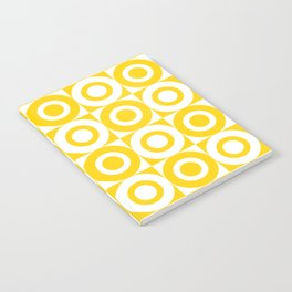 Mid Century Square and Circle Pattern 541 Yellow Notebook