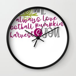 Owl Always Love Football Pumpkins Harvest and You Fall Autumn Wall Clock