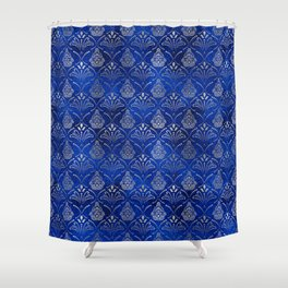 Hamsa Hand pattern -silver on blue glass Shower Curtain