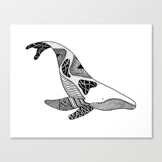 Patchwork Whale Canvas Print