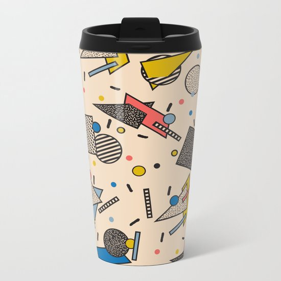 Memphis Inspired Pattern 7 Metal Travel Mug