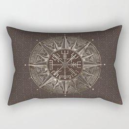 Vegvisir - Viking Compass - Brown Leather and gold Rectangular Pillow