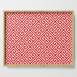 red, white pattern, Greek Key pattern -  Greek fret design Serving Tray