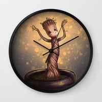groot Wall Clocks featuring Baby Groot by bookotter