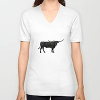 bull V-neck T-shirts featuring Bull by vogel