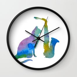 Cat With Saxophone Art Wall Clock