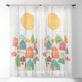 Looking at the same sun Sheer Curtain