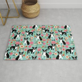 Floral Boston Terrier cute flowers spring bouquet love valentines day black and white mint dogs Rug