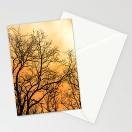 Orange cloudy sky over scary naked trees Stationery Cards