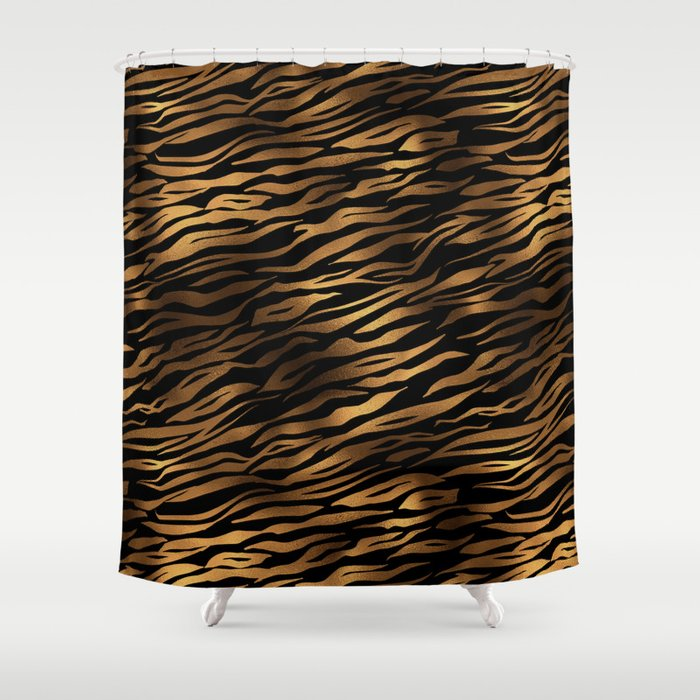 Gold and black metal tiger skin Shower Curtain