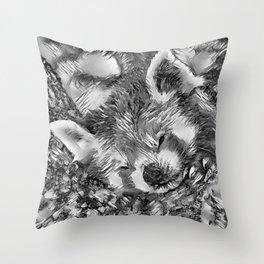 AnimalArtBW_RedPanda_20170705_by_JAMColorsSpecial Throw Pillow