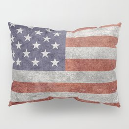Flag of the United States of America in Retro Grunge Pillow Sham