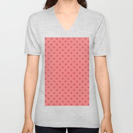 Burgundy Red on Coral Pink Snowflakes Unisex V-Neck