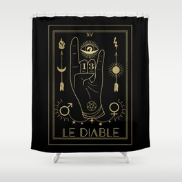 Le Diable or The Devil Tarot Gold Shower Curtain