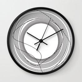 Tangled Black Circles on White pattern design Wall Clock