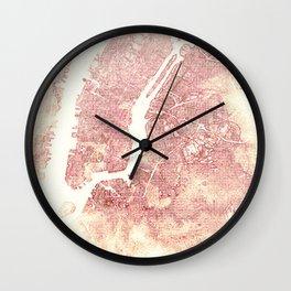 New York Pink Wall Clock