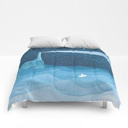 Lighthouse illustration Comforters