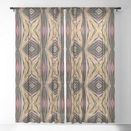 Pink and Sand Geometric Pattern Sheer Curtain