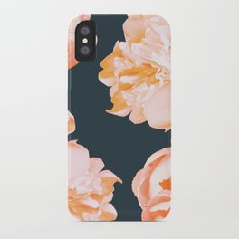 Peach Colored Flowers Dark Background #decor #society6 #buyart iPhone Case