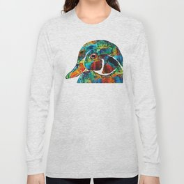 Colorful Wood Duck Art by Sharon Cummings Long Sleeve T-shirt