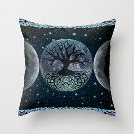 Esoteric Tripple Moon Throw Pillow
