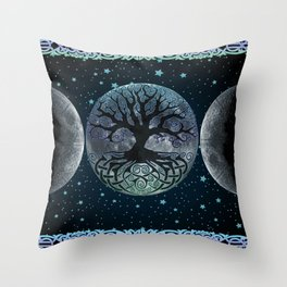 Esoteric Tripple Moon Throw Pillow