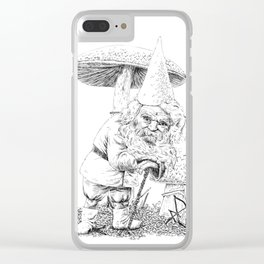 Knobby-caned gnome with mushrooms Clear iPhone Case