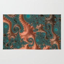 Copper Leaves - Fractal Art Rug