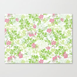 Forest Wildflowers / White Background Canvas Print