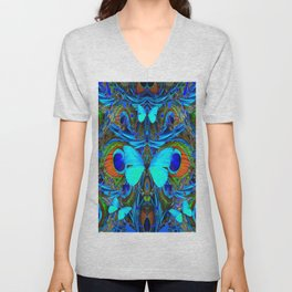 ELECTRIC NEON BLUE BUTTERFLIES & BLUE PEACOCK FEATHERS Unisex V-Neck