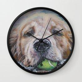 GOLDEN RETRIEVER dog portrait painting by L.A.Shepard fine art Wall Clock