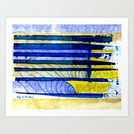 WAY OF THE OCEAN - Yellow & Blue Waves Art Print