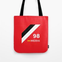 f1 Tote Bags featuring F1 2015 - #98 Merhi [v2] by MS80 Design