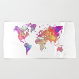 Map of the world #map #world Beach Towel