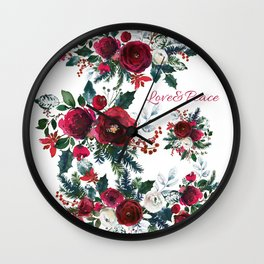 Red burgundy Christmas season floral bouquets love and peace script Wall Clock