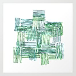 Green and Blue Parallel and Perpendicular Pencil Lines Art Print