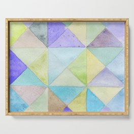 Watercolors triangles and squares, multicolored ornament, purple blue lilac green br Serving Tray
