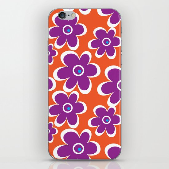 retro purple flower iPhone & iPod Skin