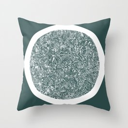 Geometric Prelude (Circle & Square) | Dark slate grey Throw Pillow