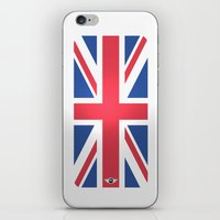 mini cooper iPhone & iPod Skins featuring Mini Cooper Top Flag by MYFASHIONCASE