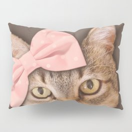 Brown Tabby Cat with Soft Pink Bow Pillow Sham