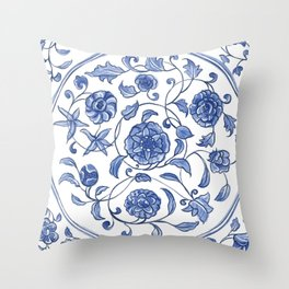 Floral and Waves Throw Pillow