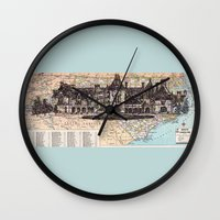 north carolina Wall Clocks featuring North Carolina by Ursula Rodgers