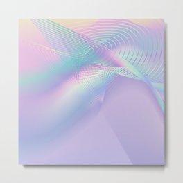 Holographic Aesthetic Violet Line Art Metal Print