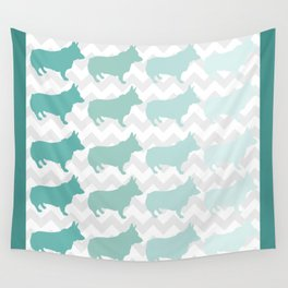 Teal Corgi Ombre with Chevron Wall Tapestry